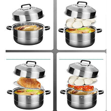 Load image into Gallery viewer, WalledKing Steamer,stainless Steel Steamer, Steamer Two-layer 30cm Steamer, 304 Stainless Steel Steamer, Household Multi-function Large-capacity Steamer, Thick Bottom Three-layer Double-bottom Soup St