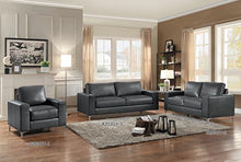 Load image into Gallery viewer, Homelegance Track Arm Sofa with Metal Accent Leg Leather Gel Match, Grey