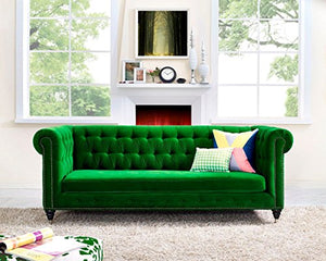 Tov Furniture The Hanny Collection Elegant Velvet Fabric Upholstered Wood Living Room Sofa Couch, Green