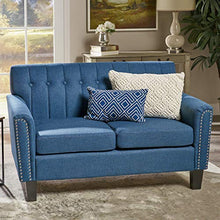 Load image into Gallery viewer, Great Deal Furniture 303939 Jasmine Traditional Navy Blue Fabric Loveseat, Dark Brown
