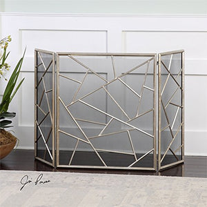 "Diva At Home 51"" Modern Silver Leaf Decorative Abstract Fireplace Screen"