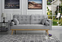 Load image into Gallery viewer, Mid-Century Modern Tufted Velvet Fabric Sofa (Light Grey)