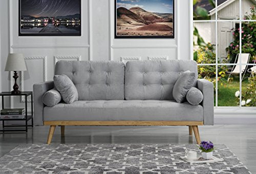 Mid-Century Modern Tufted Velvet Fabric Sofa (Light Grey)