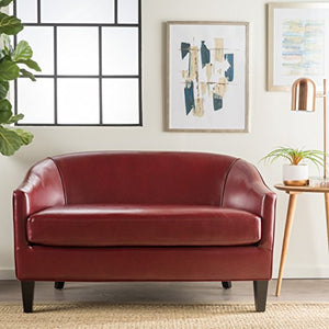 Christopher Knight Home 300593 Isolde Modern Petite Loveseat (Fabric (Red Leather)