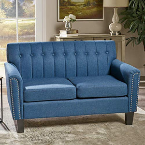 Great Deal Furniture 303939 Jasmine Traditional Navy Blue Fabric Loveseat, Dark Brown