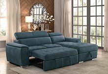 "Load image into Gallery viewer, Homelegance Ferriday 98"" x 66"" Sectional Sleeper with Storage, Blue"