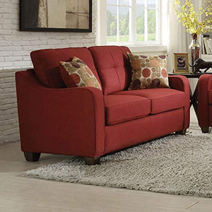 Acme Furniture 53561 Cleavon II Loveseat with 2 Pillows, Red Linen