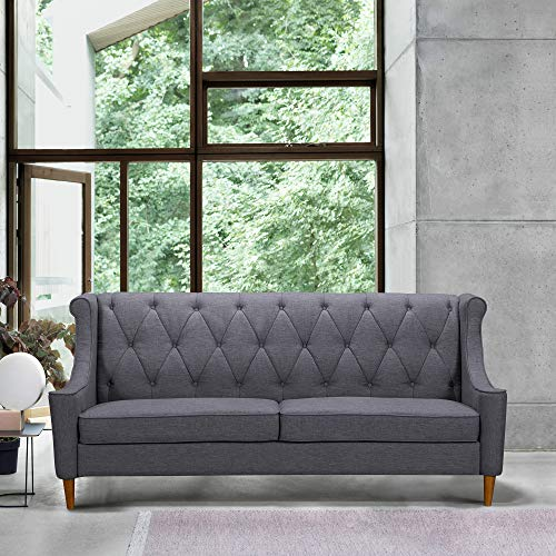 Armen Living LCLX3GR Luxe Sofa, Dark Gray