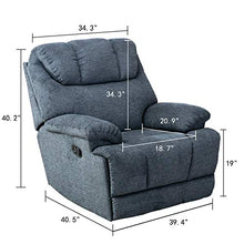 Load image into Gallery viewer, CANMOV Recliner Chair, Microfiber Fabric Living Room Chair, Manual Reclining Single Couch with Thickened Headrest and Back, Blue