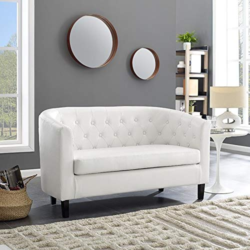 Naomi Home Emma Button Tufting Loveseat White