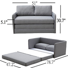 Load image into Gallery viewer, Container Furniture Direct Kathy Collection Modern Contemporary Fabric Upholstered Livingroom Loveseat Sleeper, Grey