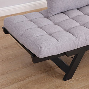HOMCOM 3 Position Convertible Chaise Lounge Sofa Bed - Black/Light Grey
