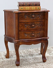 Load image into Gallery viewer, International Caravan 3876-IC Furniture Piece Carved Wood Three Drawer Scalloped Night Stand, 0