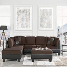 Load image into Gallery viewer, 3 Piece Modern Microfiber Faux Leather Sectional Sofa with Ottoman, Color Hazelnut, Beige, Chocolate and Grey (Chocolate)