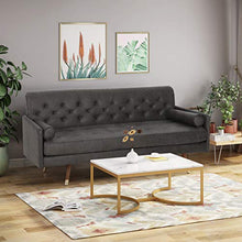 Load image into Gallery viewer, Great Deal Furniture 307789 Truda Mid Century Modern Microfiber Sofa with Button Accents, Slate, Dark Walnut