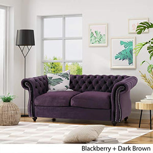 Christopher Knight Home 306026 Karen Traditional Chesterfield Loveseat Sofa, BlackBerry and Dark Brown,
