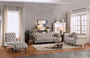 "Homelegance St. 70"" Claire Fabric Chesterfield Loveseat, Almond Brown"