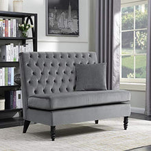 Load image into Gallery viewer, Belleze Modern Button Tufted Settee Bedroom Bench Loveseat Sofa Living Room Velvet, Gray