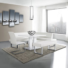 Load image into Gallery viewer, Armen Living LCAMCOWHSF Amanda Sectional in White and Chrome Finish