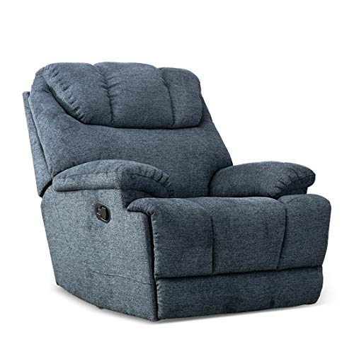 CANMOV Recliner Chair, Microfiber Fabric Living Room Chair, Manual Reclining Single Couch with Thickened Headrest and Back, Blue