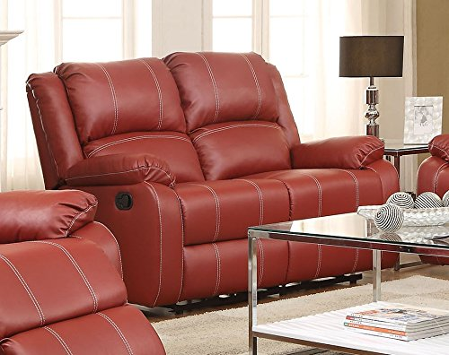ACME Zuriel Red Faux Leather Reclining Loveseat