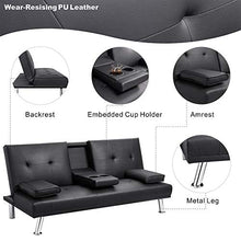 Load image into Gallery viewer, Walsunny Modern Faux Leather Couch, Futon Sofa ,Convertible Sofa Bed with Armrest & Fold Up & Down Recliner Couch with Cup Holders - Black