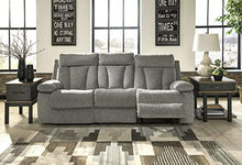 Load image into Gallery viewer, Signature Design by Ashley 7620489 Mitchiner Reclining Sofa with Drop Down Table, Fog