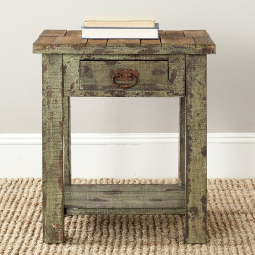 Safavieh AMH4094A American Homes Collection Alfred Antique End Table, Antique Green