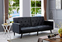 Load image into Gallery viewer, Naomi Home Convertible Tufted Futon Sofa Black/Faux Leather