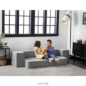 LUCID 8 Inch Convertible Foam Sofa and Foldable Play Mat - Durable Fashion Cover