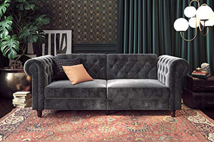 DHP 2260479 Felix Chesterfield Sofa Futon, Grey Velvet