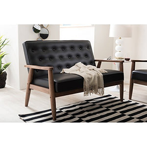 Baxton Studio Sorrento Mid-Century Retro Modern Faux Leather Upholstered Wooden 2-Seater Loveseat, Black