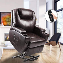 Load image into Gallery viewer, Power Lift Recliner, Fitnessclub, Electric Massage Recliner Sofa Full Body, Zero Gravity, Leather Lazy Boy Recliner with Remote Controller for Elderly, Father and Mother, Brown