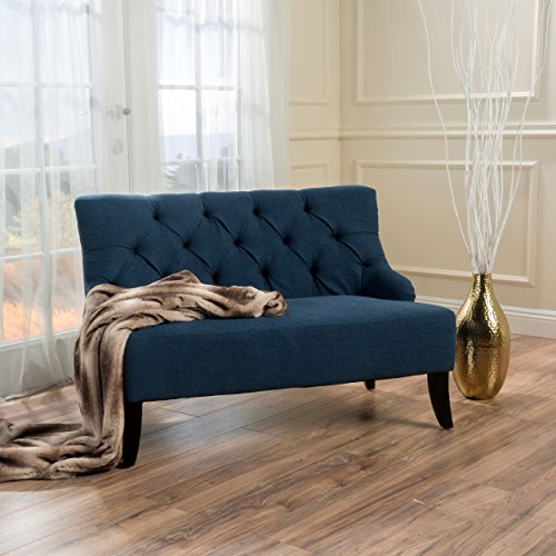 Christopher Knight Home 299949 Nicole Dark Blue Fabric Settee,