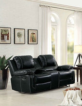 "Load image into Gallery viewer, Homelegance Oriole 78"" Leath-Aire Double Glider Reclining Loveseat, Black"