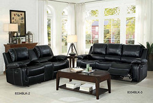 "Homelegance Oriole 78"" Leath-Aire Double Glider Reclining Loveseat, Black"