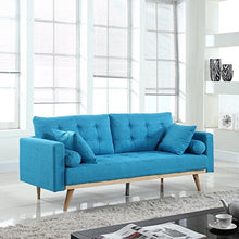 Load image into Gallery viewer, Madison Home Tufted Linen Mid-Century Modern Sofa Light Blue