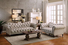 "Load image into Gallery viewer, Homelegance St. 70"" Claire Fabric Chesterfield Loveseat, Almond Brown"