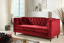 Load image into Gallery viewer, Container Furniture Direct S5375-S Kitts Velvet Upholstered Modern Chesterfield Sofa, Red