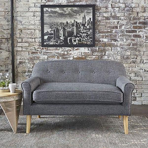 Christopher Knight Home 301300 Mariah Grey Mid Century Modern Loveseat,