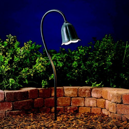 KICHLER 15349MST Tulip 1LT Incandescent/LED Hybrid Low Voltage Landscape Path and Spread Light, Textured Midnight Spruce Finish by