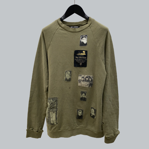 "Raf Simons AW 2001-02 "" Riot Riot Riot!"" Patched Crewneck Sweater / Riot Riot Riot! Collection"