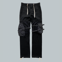 "Load image into Gallery viewer, Takahiro Miyashita NUMBER (N)INE Black Hybrid Cargo Pants AW2005 ""The High Streets"" Collection"