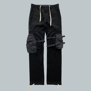 "Takahiro Miyashita NUMBER (N)INE Black Hybrid Cargo Pants AW2005 ""The High Streets"" Collection"
