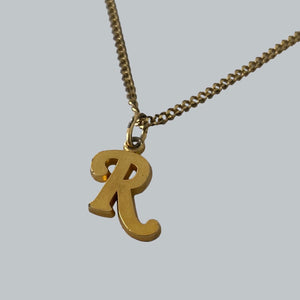"Raf Simons Plated Gold ""R"" Necklace / Collection Unknown"