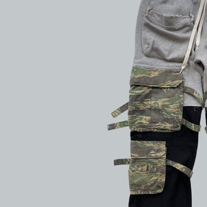 "Takahiro Miyashita NUMBER (N)INE Grey / Black Hybrid Cargo Pants AW2005 ""The High Streets"" Collection"