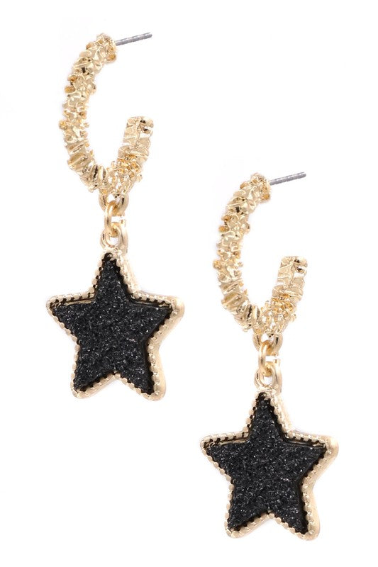Shining Start Earrings In Black