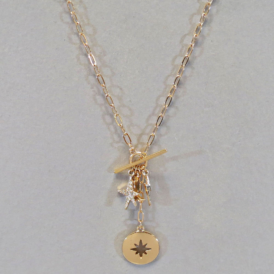 Star Coin Charm Necklace-Gold