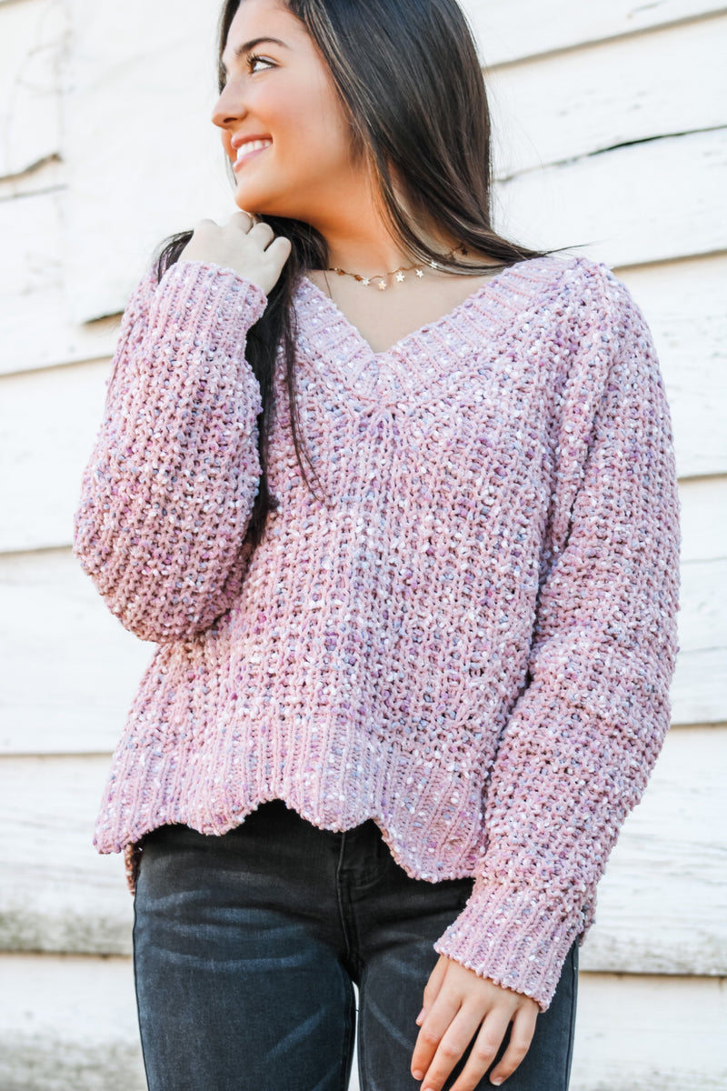 Feel The Love Mauve Sweater