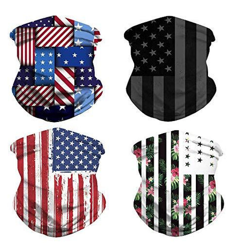4pcs Cooling Neck Gaiter,US Flag Gaiters,Face Cover for Outdoors, Festivals, Sports Unisex